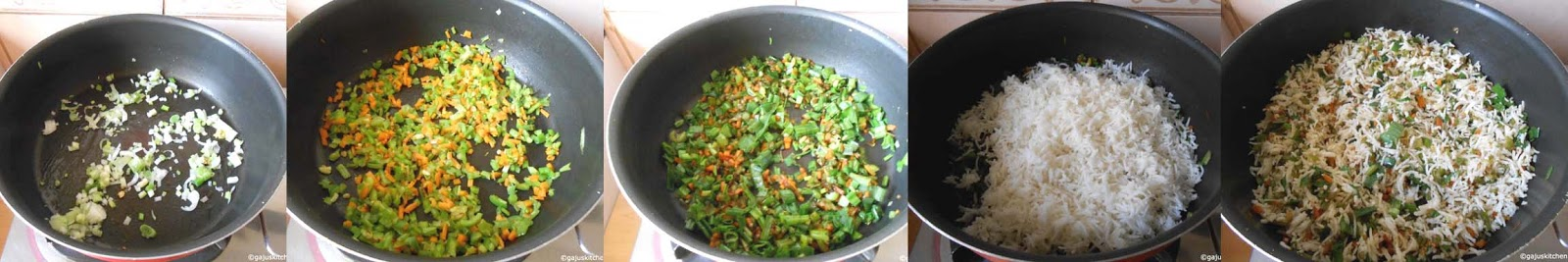 veg fried rice preparation