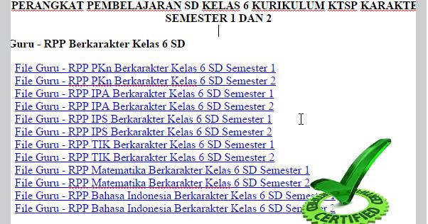 Perangkat Pembelajaran Sd Kelas 6 Kurikulum Ktsp Karakter Semester 1 Dan 2 Berkas Administrasi