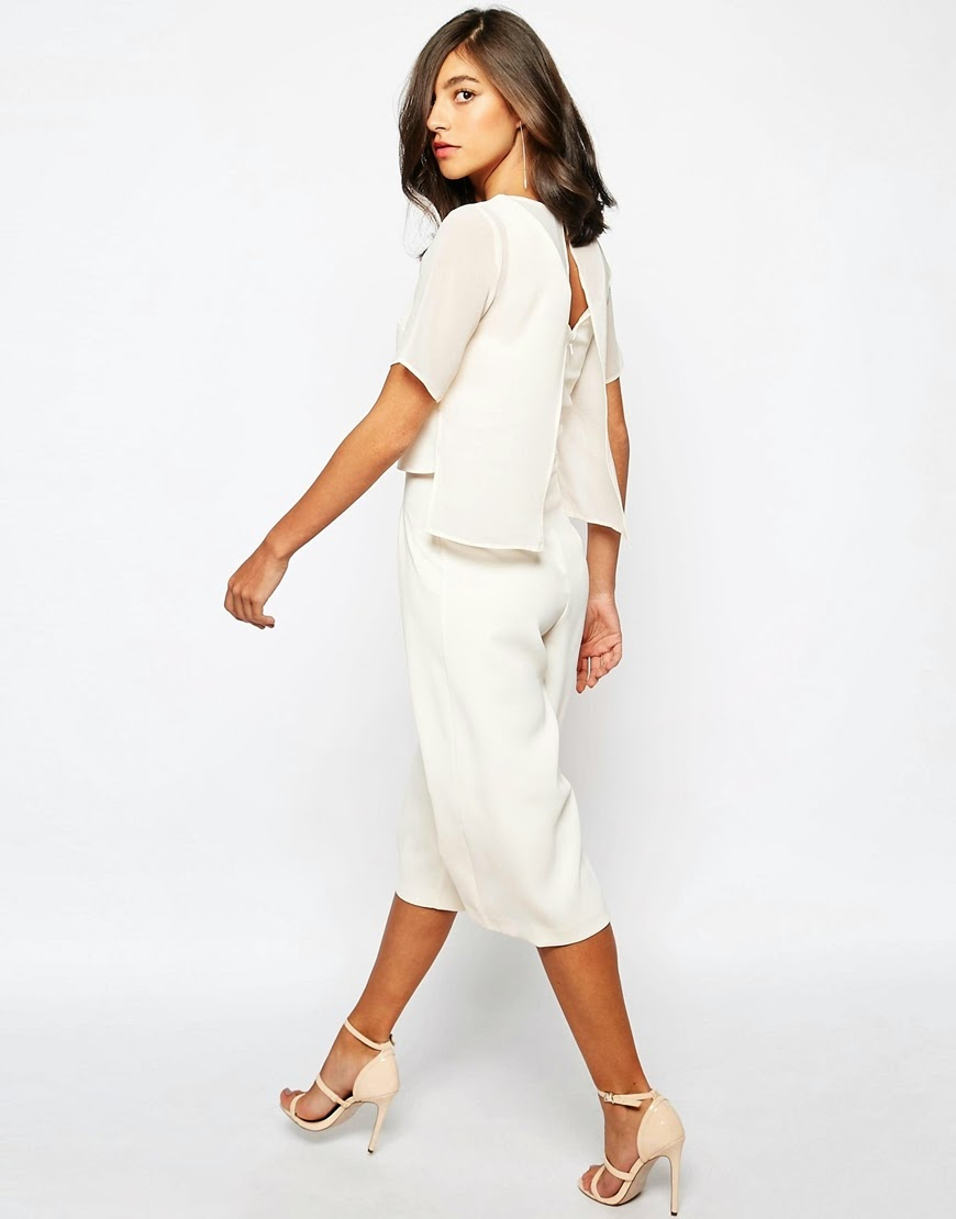 warehouse white cape jumpsuit, cape jumpsuit,