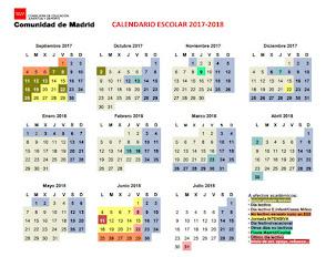 Calendario escolar curso 17/18