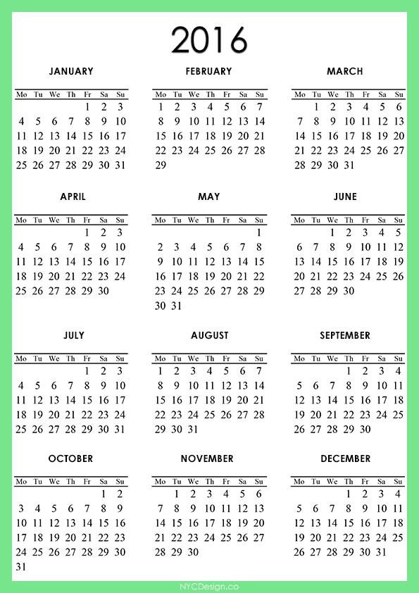2016 Calendar Printable - A4 Paper Size - Free - Light Green, White