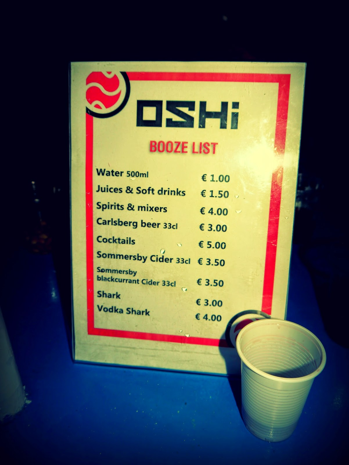OSHI Boat Party drinks list