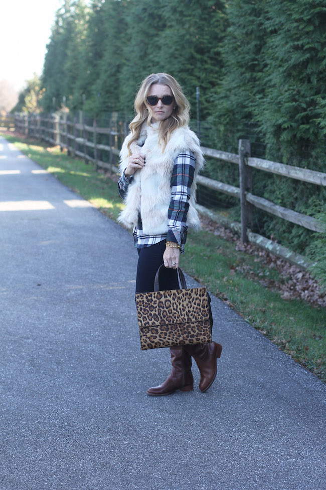 faux fur vest, rails plaid shirt, j brand jeans, tory burch boots, leopard bag