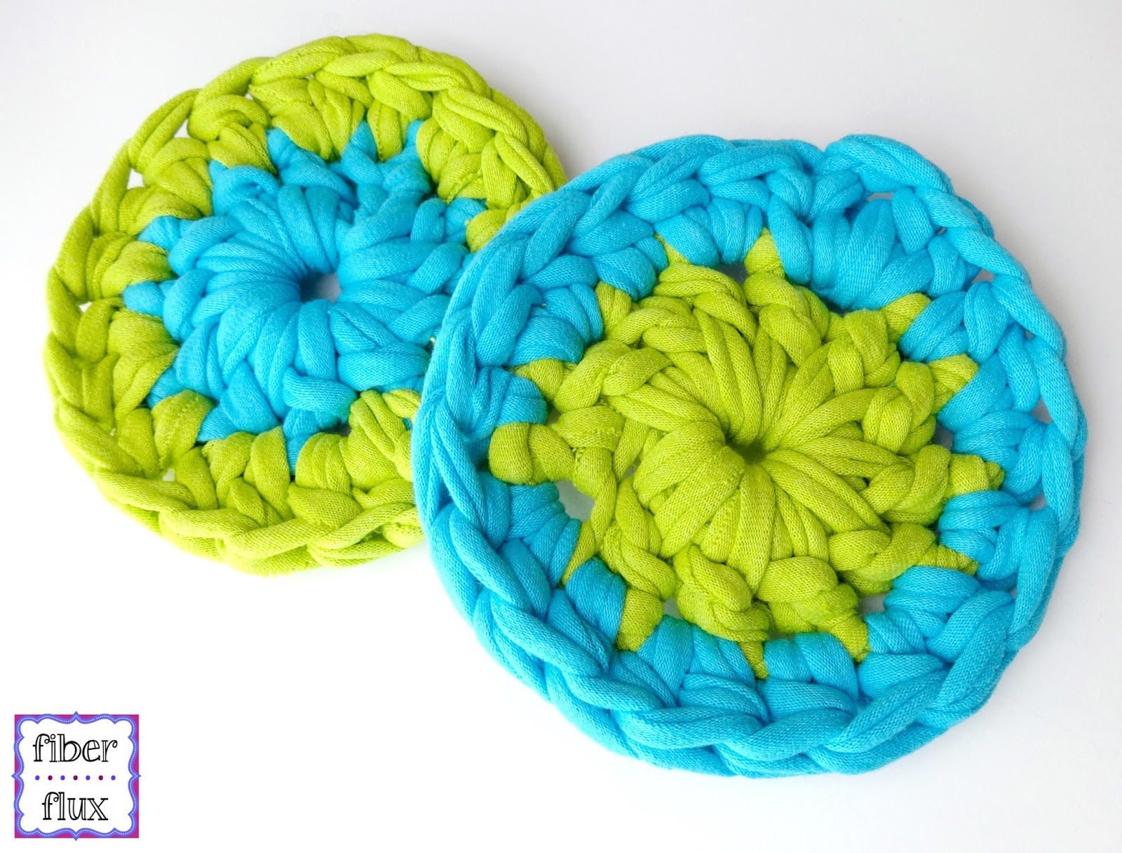 Crochet Patterns For T Shirt Yarn : Fiber Flux: Free Crochet Pattern...T-Shirt Yarn Coasters!