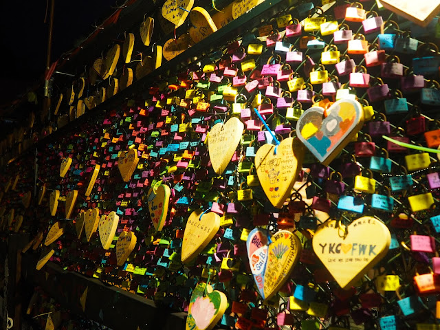 Love locks at night in the village on Cheung Chau Island, Hong Kong