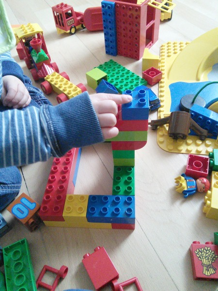 toddler with duplo - Our Handmade Home
