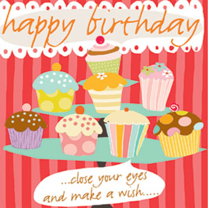 cupcakes birthday close your eye make a wish greeting cards stationery designers Liz and Pip Ltd
