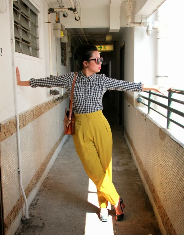Fun Vintage High Waist Pants #vintage #style #fashion #yellow
