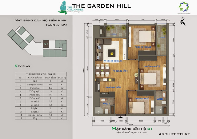 mat bang thiet ke can b1 chung cu garden hill