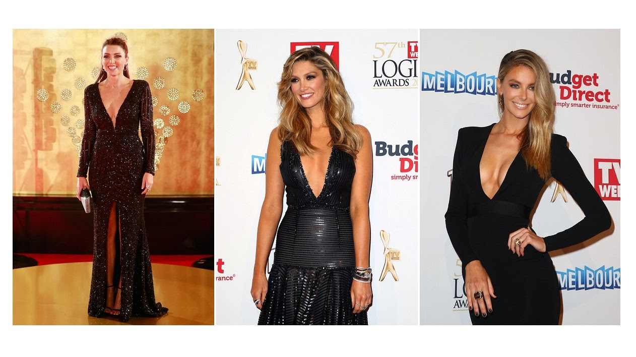 Celebrities flaunts cleavage in plunging gowns at the 2015 Logie Awards in Melbourne