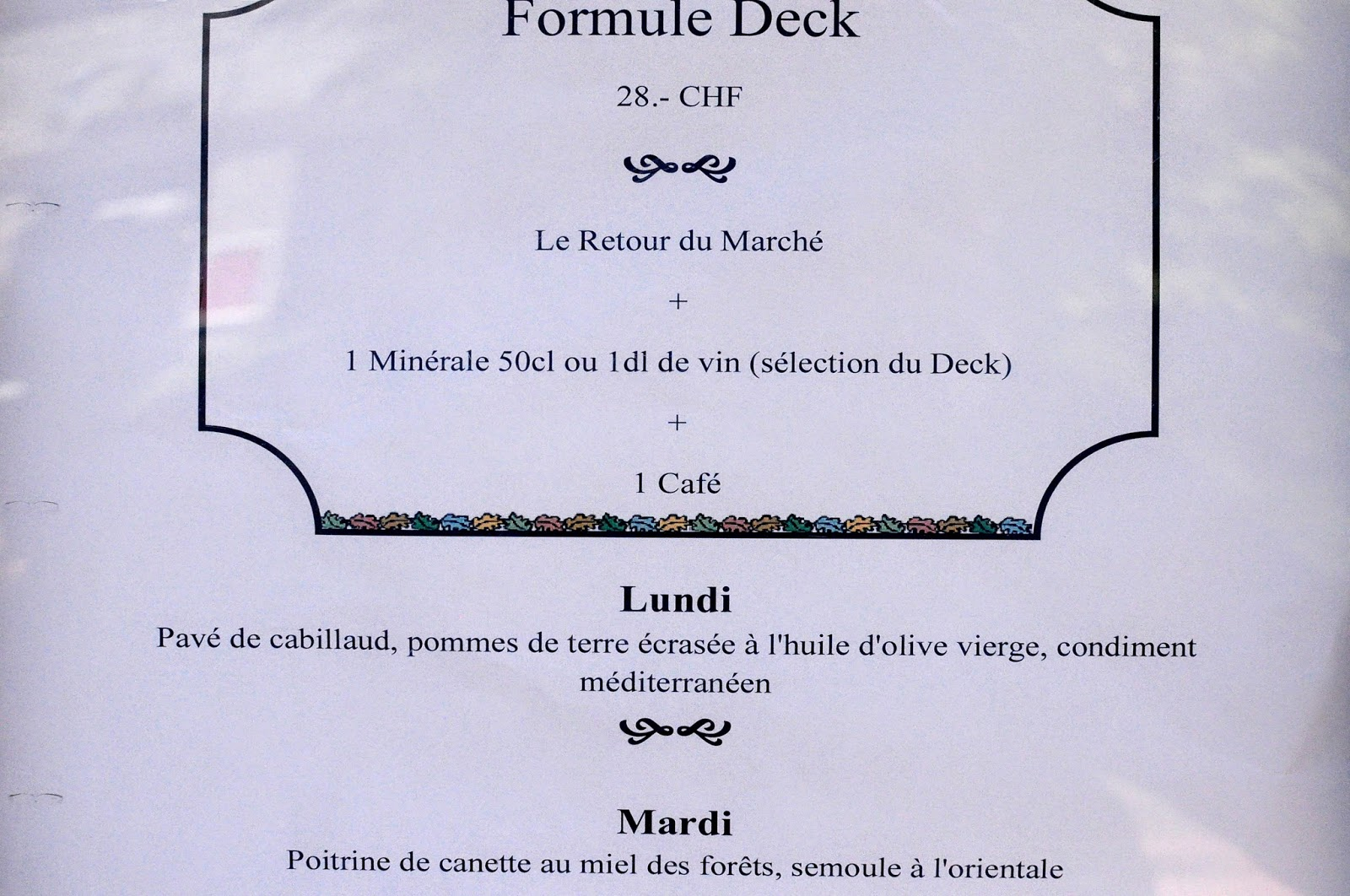 Le Deck cool restaurant terrace close to Lausanne Lavaux menu