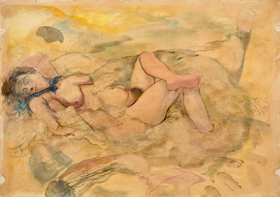 Georg Grosz -Sleeping Nude in the Dunes ,1940