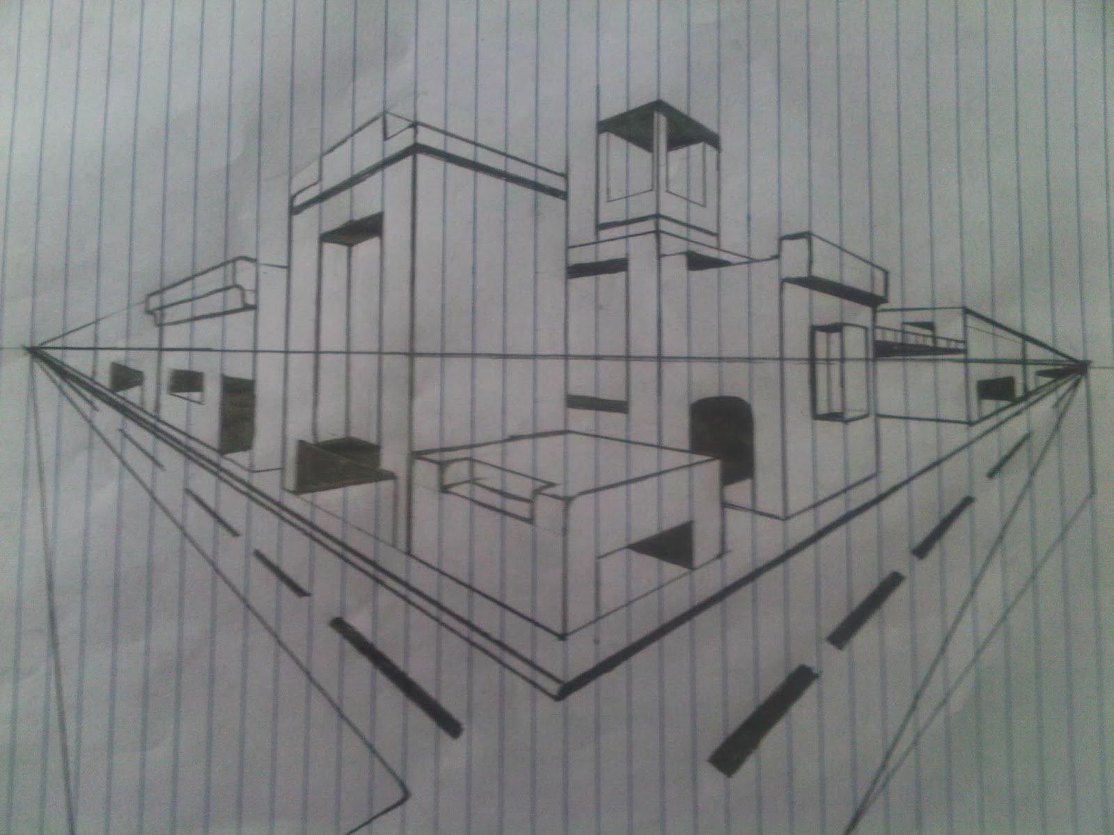 Sketsa Gambar Perspektif Gedung 2 Titik Hilang Sobsketsa