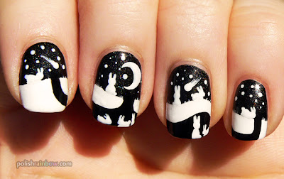 Black and white nails. Little bunnies nail art.