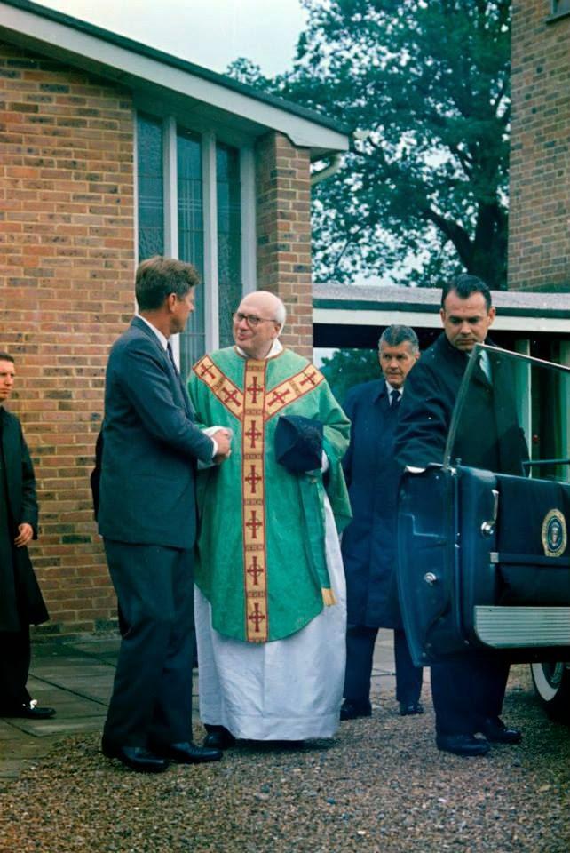 SA Win Lawson (far left), SAIC Behn and SA Bill Payne with JFK in England 6/30/63