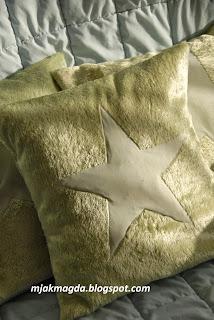 pluszowa zielona perłowa poduszka z futerka misia ozdobna poszewka z gwiazdką