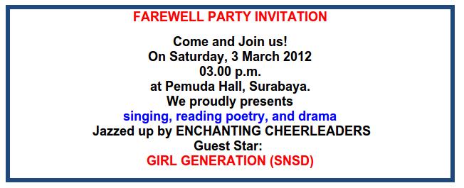 Contoh invitation card Kartu Undangan dalam bahasa inggris lengkap