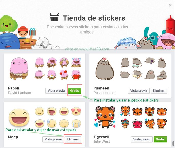 Agregar o Eliminar packs de Stickers de Facebook - MasFB