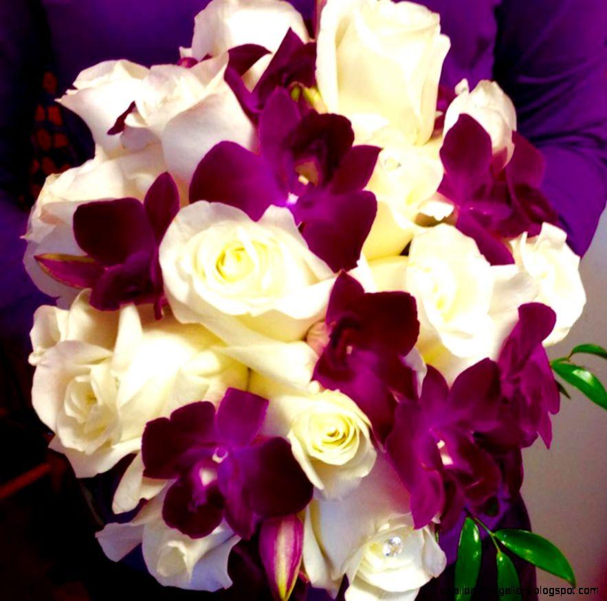 CREAMY WHITE ROSESPURPLE SONIA ORCHID BOUQUET LOUS FLORIST