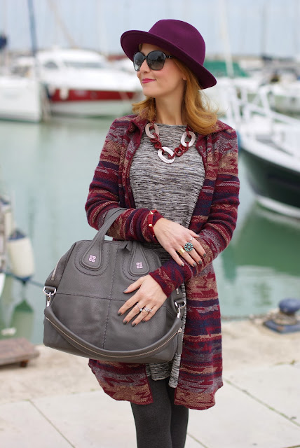 Jacquard coatigan, burgundy wool hat, grey swing dress, Givenchy Nightingale bag, Fashion and Cookies, fashion blogger