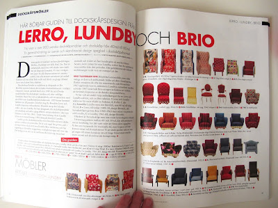 Internal pages of the magazine Retro Klassiker Leksaker Design i Dockskåpet, showing a selection of  vintage dolls' house chairs by Lerro, Lundby and Brio.