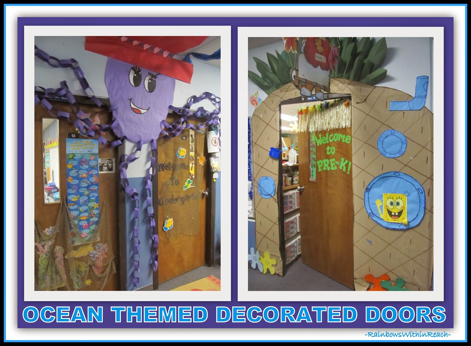 Ocean Themed Decorated Doors {Ocean RoundUP at RainbowsWithinReach: Over 100 IDEAS!}