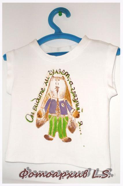 Новая футболка с зайцем из акрила))