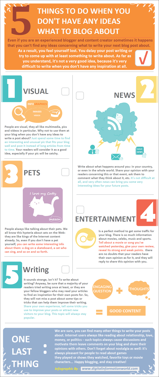 5 things to do when you don't have any ideas what to blog about : infographic