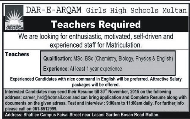 Teachers Jobs in Dar E Arqam Schools Multan