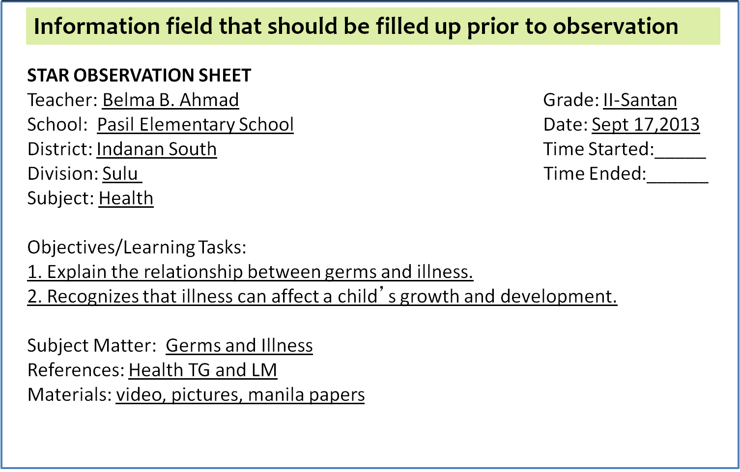 lesson observation What does a great lesson plan look like from an outsider's point of view if you  were to design a perfect lesson plan, what characteristics do you think it would.