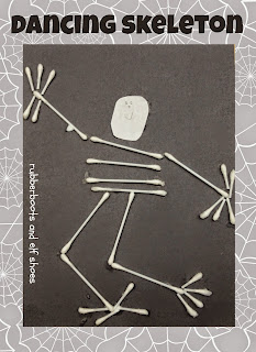 Dancing skeleton made from Q-tips