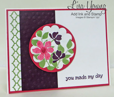Stampin' Up! Summer Silhouettes stamp set. Bright Pink and purple card. Handmade card by Lisa Young, Add Ink and Stamp