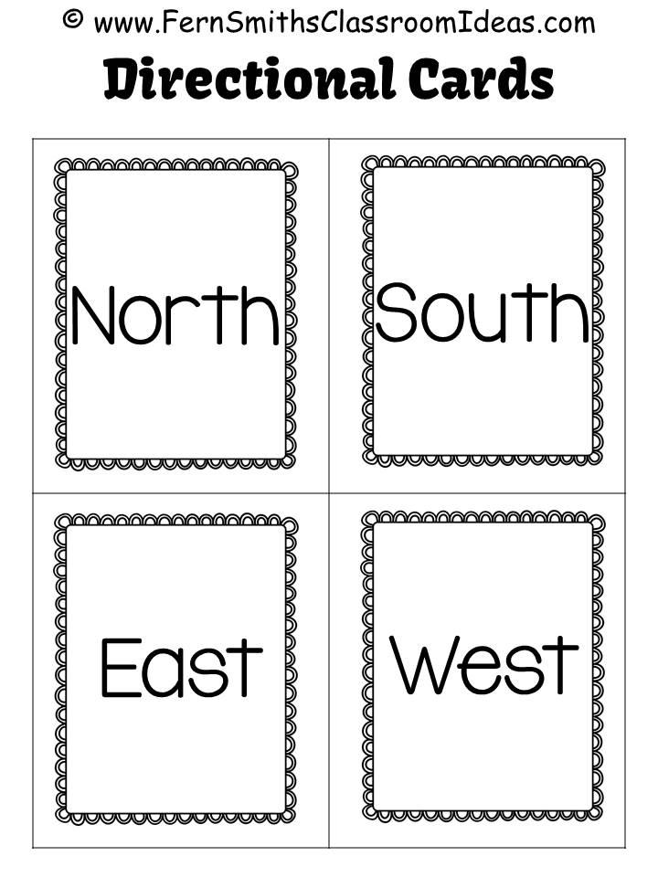 Fern Smith's Classroom Ideas Freebie North, South, East and West Directional Cards.