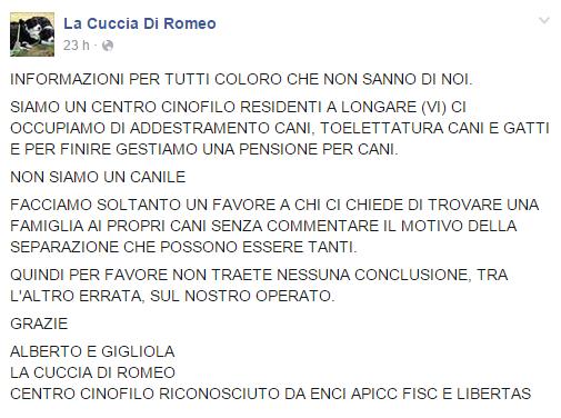 Informazione about la cuccia di romeo Vicenza centro cinofilo cani gatti