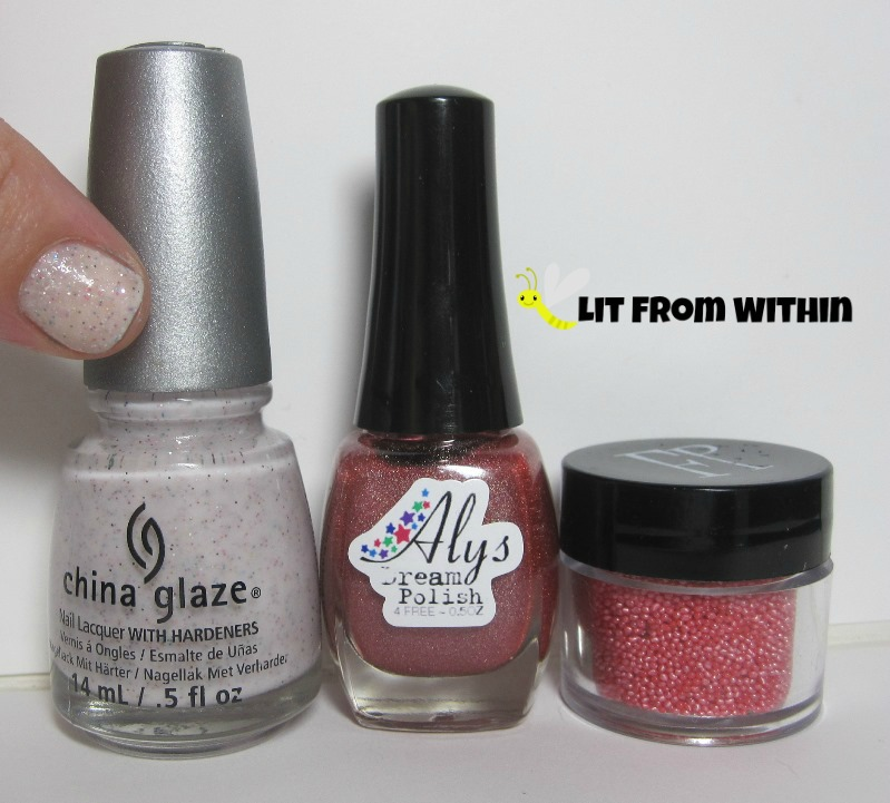 Bottle shot: China Glaze Sand Dolla Make You Holla, Aly's Dream Polish Salmon, and Finger Paints microbeads in Sugar-Coated.