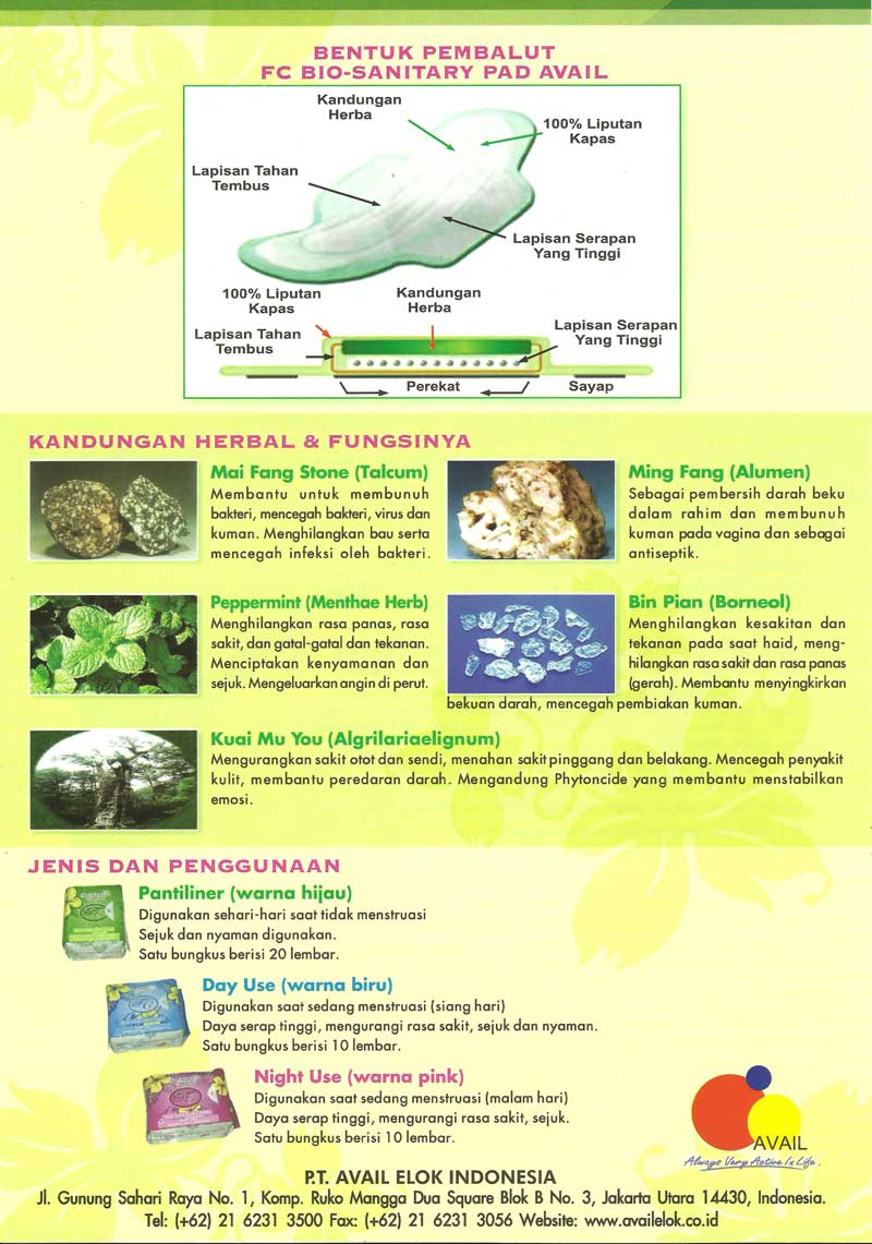 Avail Healthy Profitable Fc Bio Sanitary Pad Pembalut Kapas Day Use Nyata