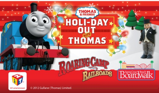 thomas the tank engine is bringing a special delivery of holiday cheer to children and families in santa cruz the santa cruz beach boardwalk and roaring
