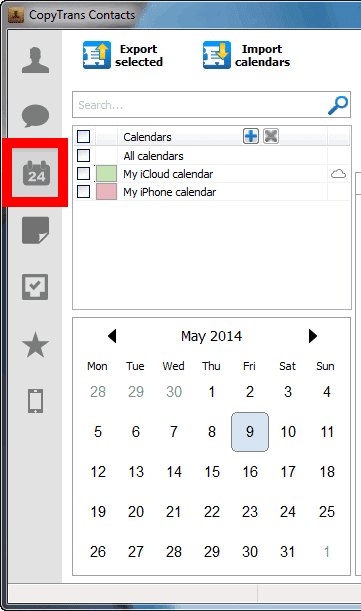 calendar section in copytrans contacts displaying icloud calendar in program window