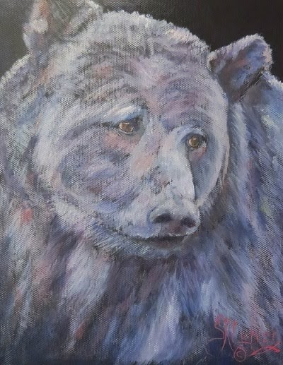 """""""Did Somebody Say Supper?"""",  Grizzly bear in oils"""