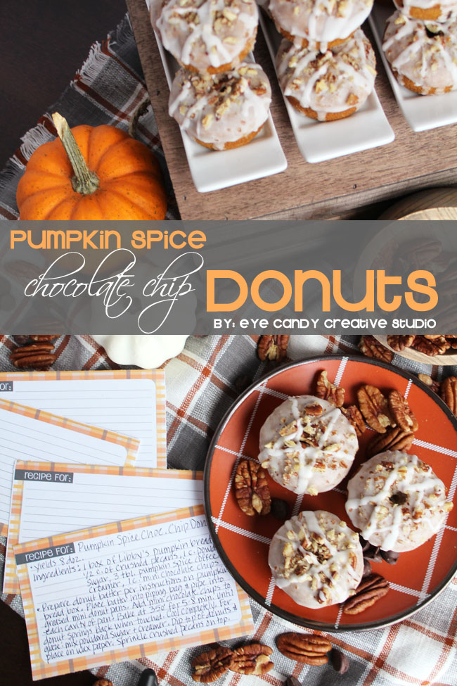baked donut recipe, pumpkin spice donuts, pumpkin spice & chocolate chip