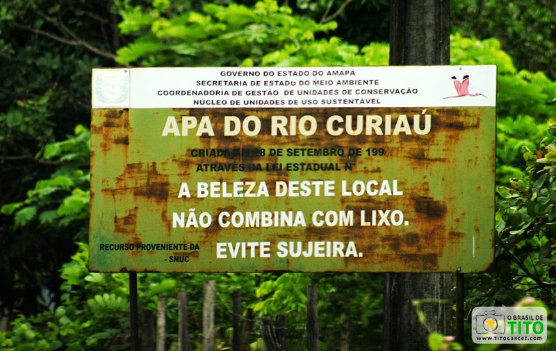 Placa da APA do Rio Curiaú, em Macapá, no Amapá