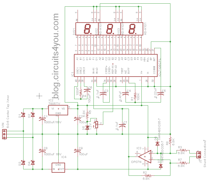 ICL7107 Ammeter Design | circuits4you.com