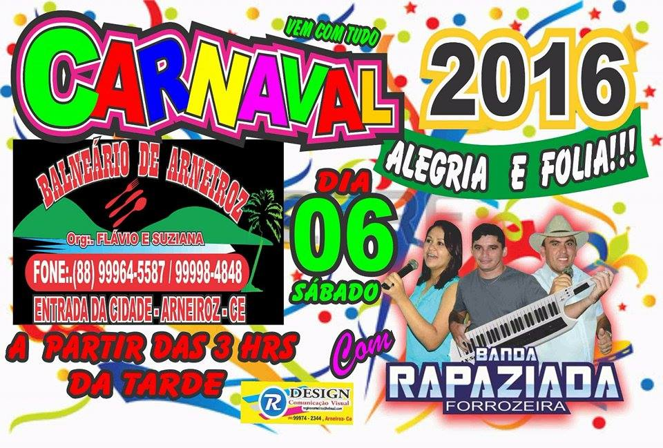 Sábado de Carnaval em Arneiroz é no BALNEÁRIO.