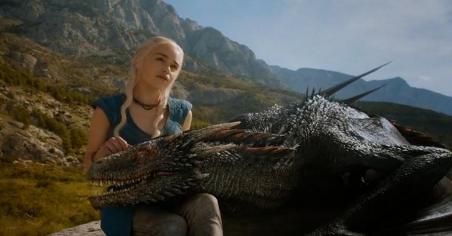Daenerys acariciando a Drogon - Juego de Tronos en los siete reinos