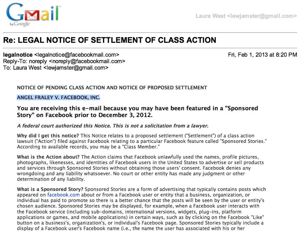 Moonbats and Wingnuts: Facebook lawsuit: Angel Fraley vs. Facebook ...