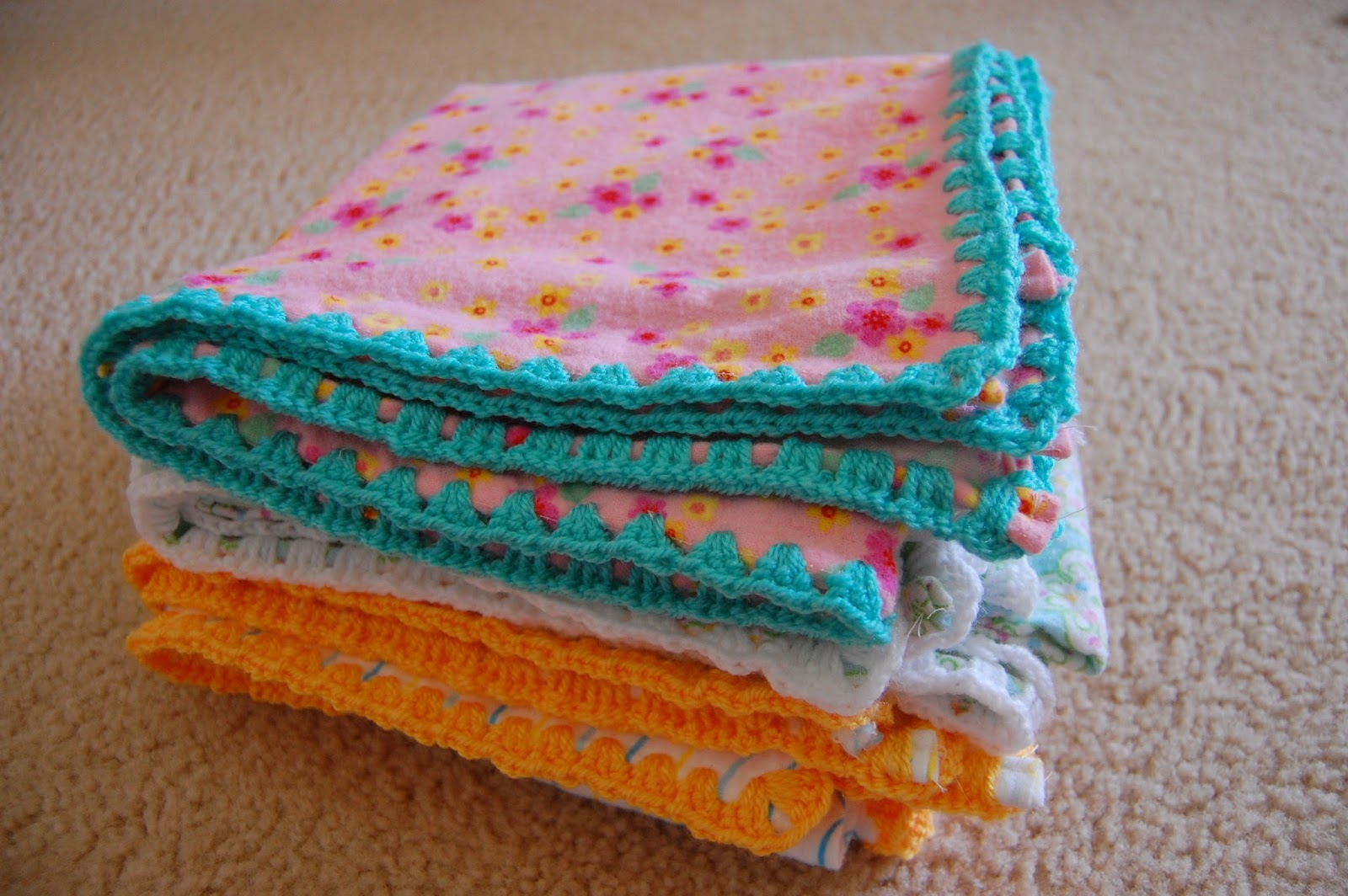 Flannel Baby Blanket Crochet Edging Patterns : thistlebear: Crochet-edged receiving blankets