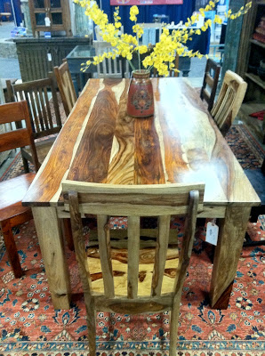 Manzel Interiors' Indian hardwood table at the New England Home Show