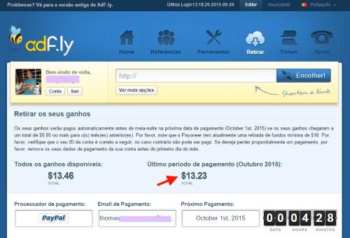 AdF.ly pagamento dos ganhos
