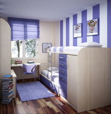 Blue White Theme Cool Teenage Bedroom Design Plans