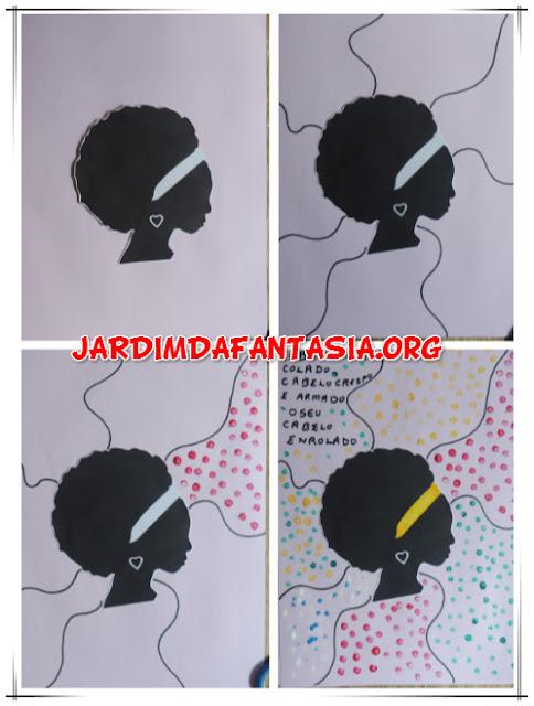 Arte com silhueta e pontos Menina do Cabelo Crespo